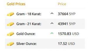 أسعار الذهب في سوريا