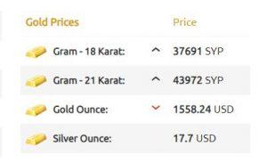 سعر الذهب وصرف الليرة السورية