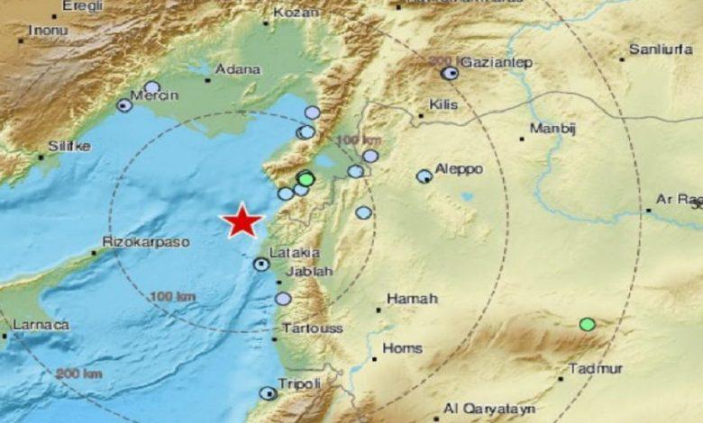 زلزال كبير في الساحل السوري
