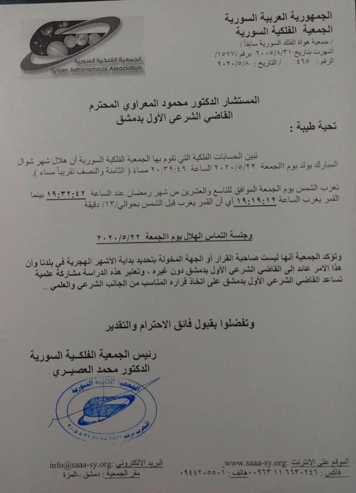 موعد أول أيام عيد الفطر في سوريا