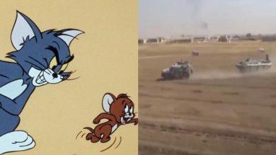 """صورة """"توم وجيري"""".. قوات أمريكية تطارد دورية روسية شمال شرق سوريا (فيديو)..!"""